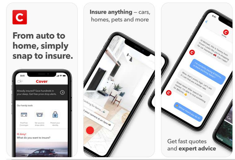 cover auto insurance app for iPhone