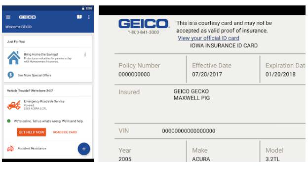 geico Car Insurance App for iPhone and Android